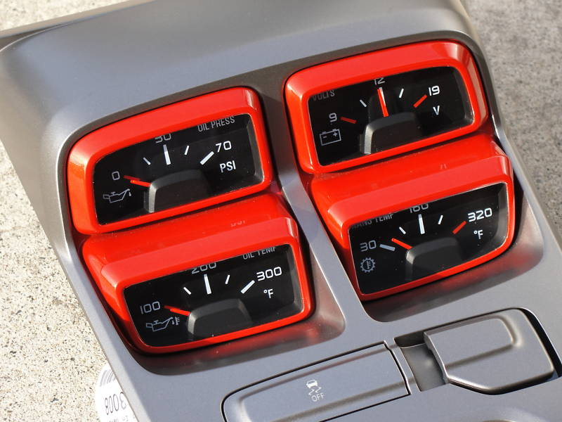 Custom Painted Inferno Orange 4 Pack Gauge Cluster For