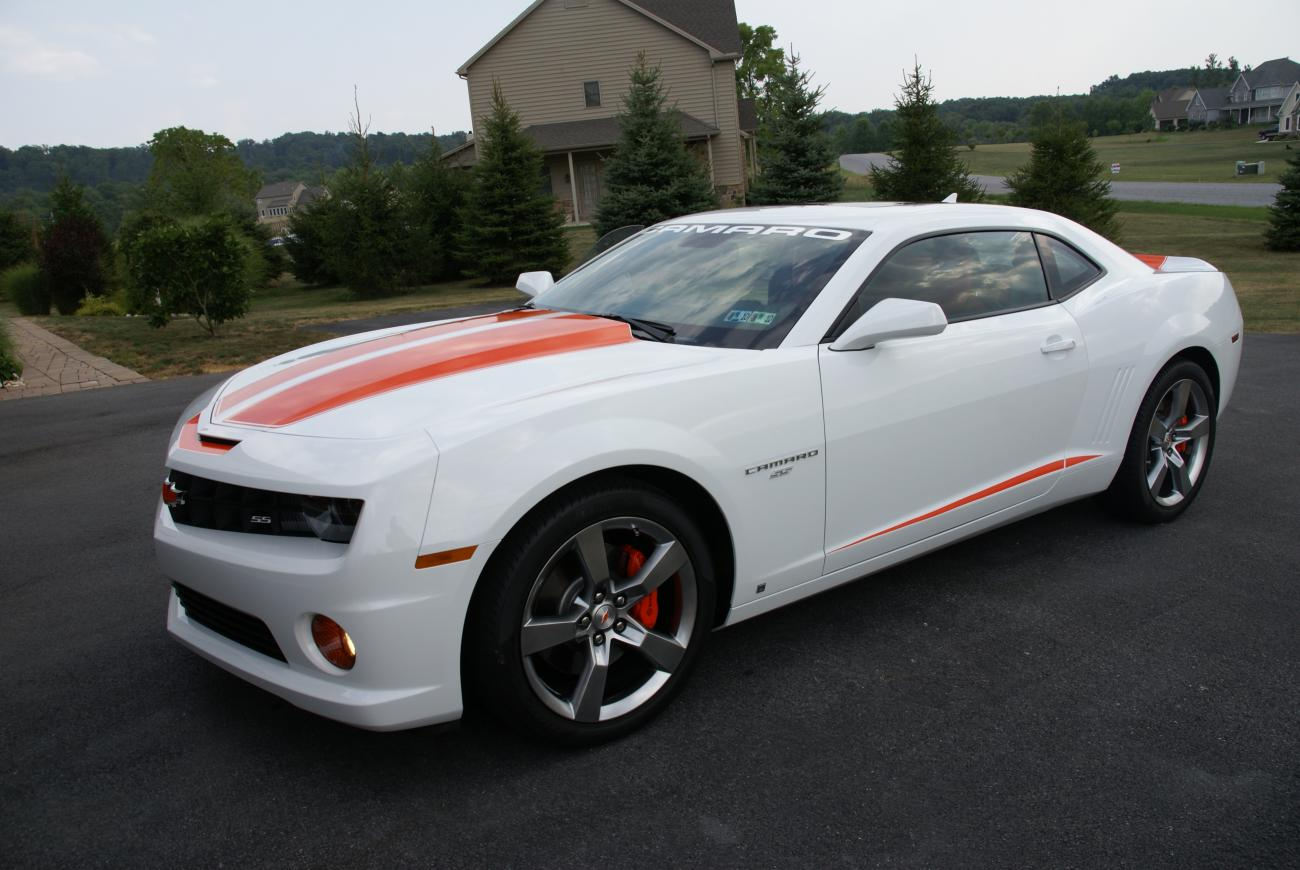 2010 Camaro 2ss Rs White Orange Hugger Stripes Camaro5