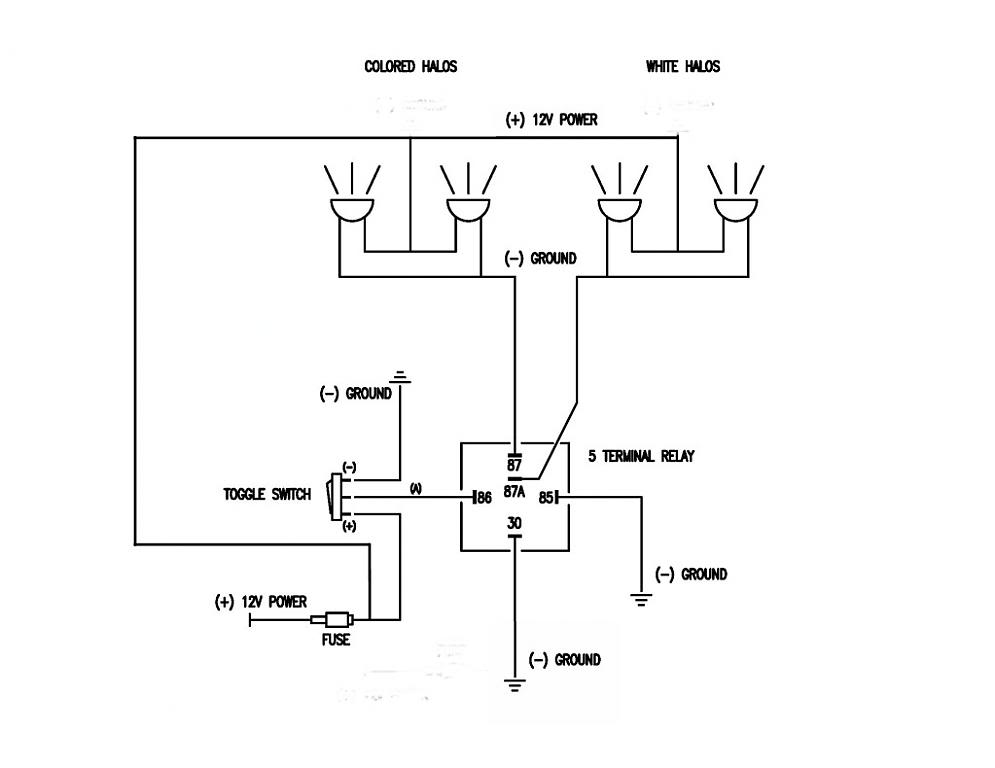 AAC Halo's wiring - Camaro5 Chevy Camaro Forum / Camaro ZL1, SS and on relay connection diagram, 4 pin relay diagram, 12 volt latching relay diagram, relay switch diagram, 4 pole relay schematic, ac motor speed control diagram, 3 pole relay diagram, 4 pole trailer wiring diagram, 12 volt 5 pin relay diagram, 4 pole relay operation, 4 wire relay diagram, 4 pole switch diagram,