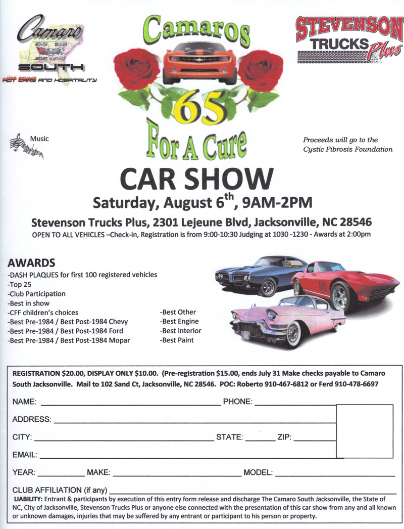 AUG Camaros For A Cure Car Show In Jacksonville NC - Car show jacksonville nc