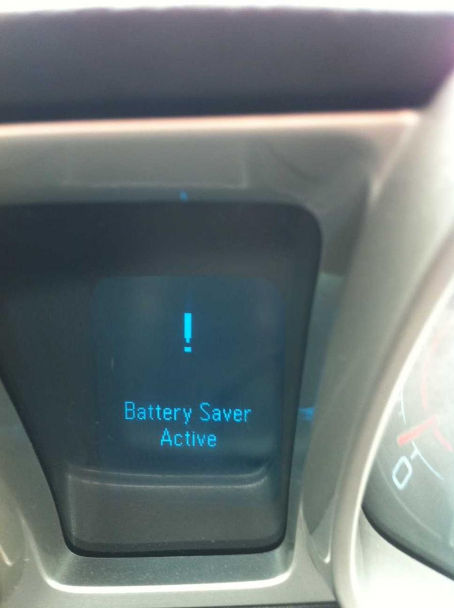 Battery Saver message between the gauges - Camaro5 Chevy