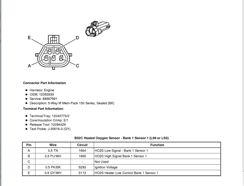 Wiring Diagram O2 Sensor Bank 1 Sensor 1        Camaro Zl1  Ss And