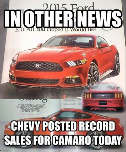 Funny Anti Mustang Or Anti Ford Memes Camaro5 Chevy Camaro