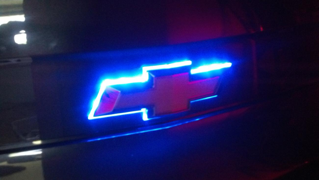 Led Rear Bow Tie And Door Sills Blue Camaro5 Chevy