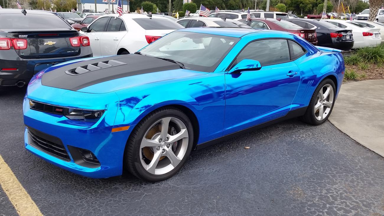 Camaro Ss With A Blue Chrome Wrap At Dealer Pics