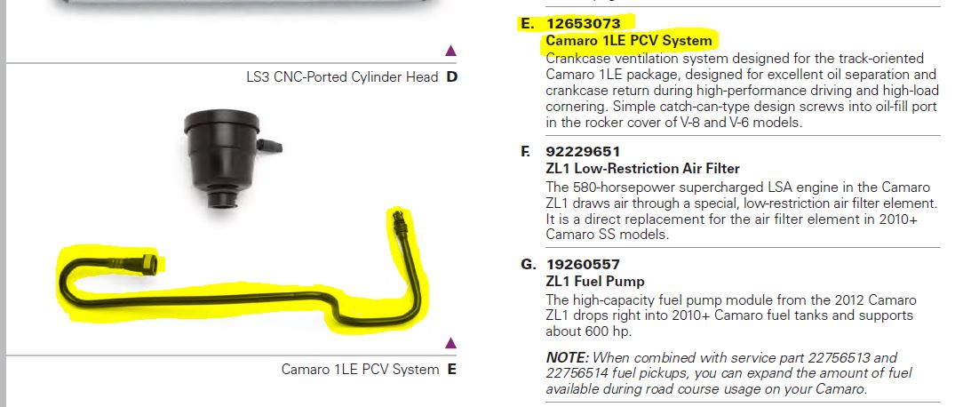 Looking For 1LE PCV Tube Only - Camaro5 Chevy Camaro Forum