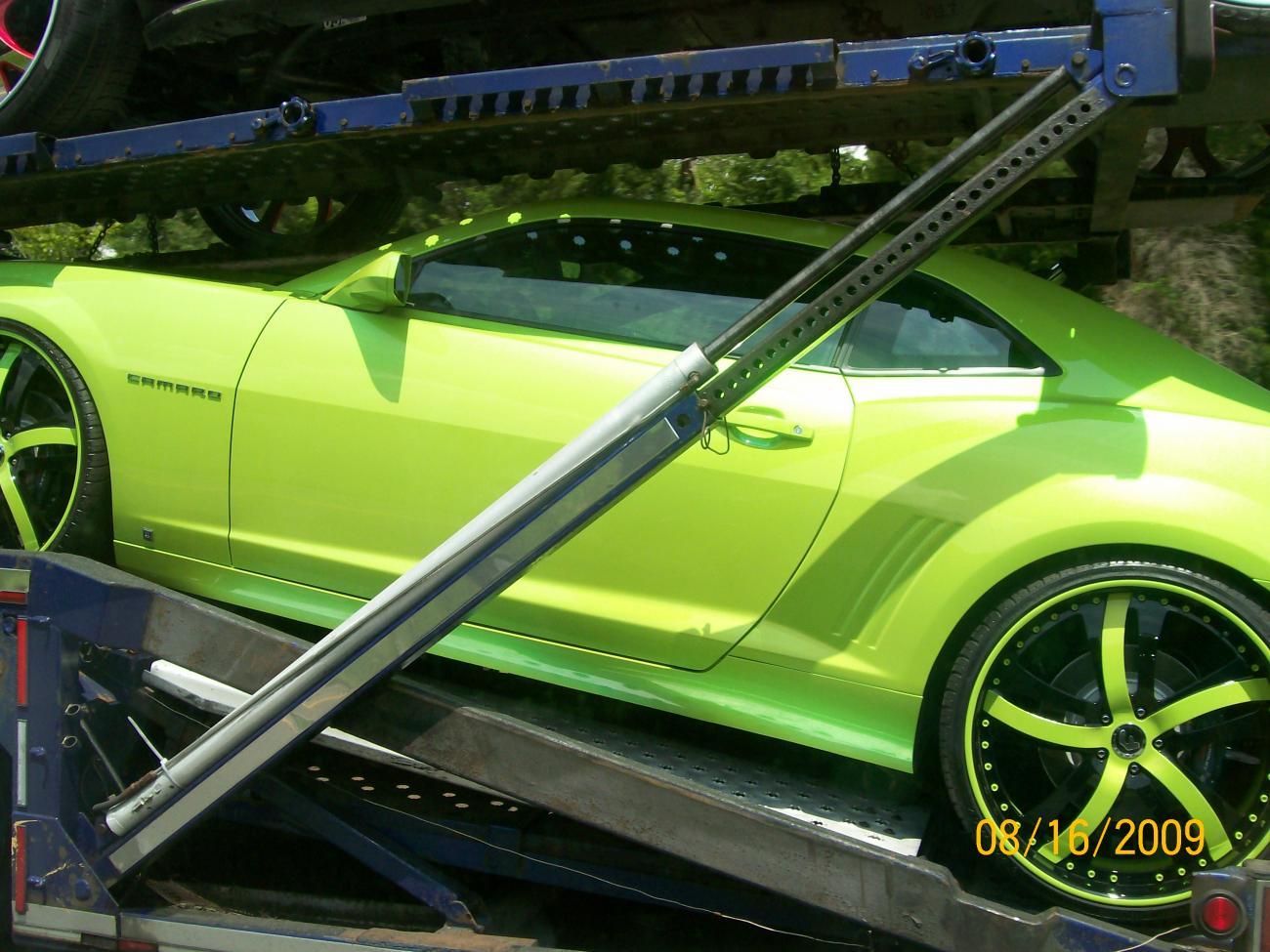 custom paint job line neon green camaro spotted