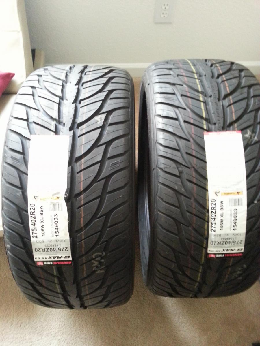 brand new 275 40zr20 general tire g max as 03 for sale. Black Bedroom Furniture Sets. Home Design Ideas
