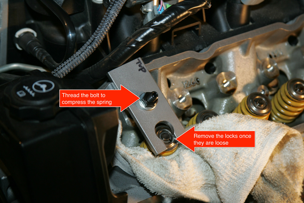 59. Using a set of channel locks, grab the valve stem seal and spring seat (the stocks ones are both those things in one piece) and with a good grip rotate ...